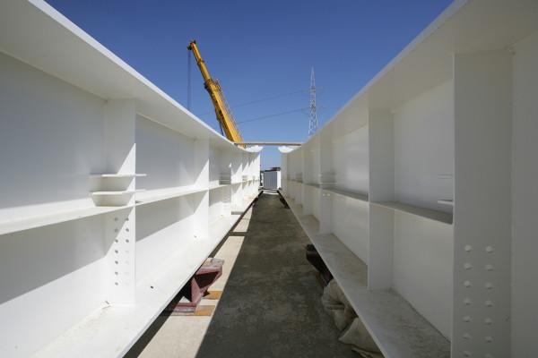 11.08.2008 Marano (VE). Cantiere del Passante di Mestre. Costruzione del ponte sul canale Taglio. © Lamberto Fano/Unionpress
