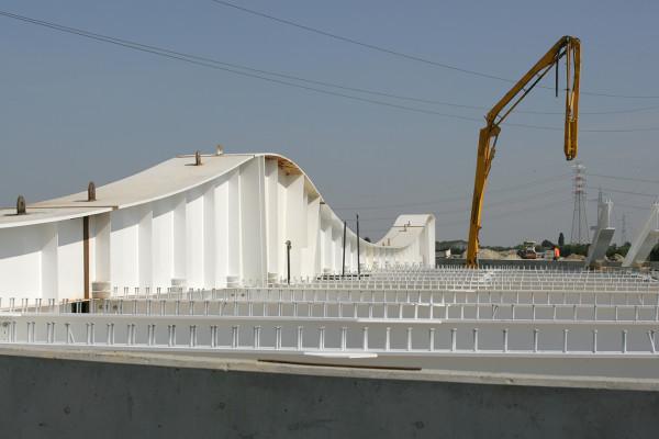 29.09.2008 Marano di Mira (VE). Cantiere del Passante di Mestre. Il ponte sul canale Taglio. © Lamberto Fano/Unionpress